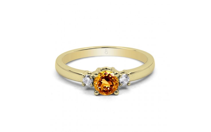 Citrine 3 Stone Yellow Gold Ring product image 1