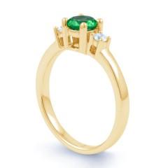 18ct Yellow Gold Emerald & Diamond Three Stone Engagement Ring 0.2ct 2mm image 1