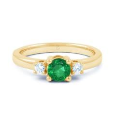 18ct Yellow Gold Emerald & Diamond Three Stone Engagement Ring 0.2ct 2mm image 0
