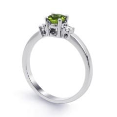 18ct White Gold Peridot & Diamond 3 Stone Engagement Ring 0.1ct 2mm image 1