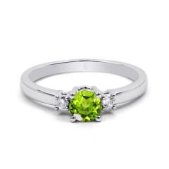 18ct White Gold Peridot & Diamond 3 Stone Engagement Ring 0.1ct 2mm image 0