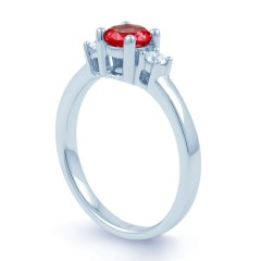 18ct White Gold Ruby & Diamond 3 Stone Engagement Ring 0.1ct 2mm image 1