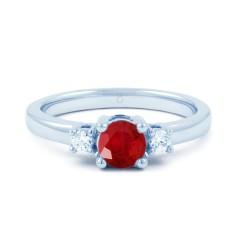 18ct White Gold Ruby & Diamond 3 Stone Engagement Ring 0.1ct 2mm image 0