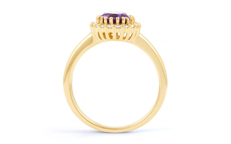 Amethyst & Diamond Halo Gold Ring product image 3