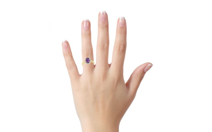 Amethyst & Diamond Halo Gold Ring product image 4
