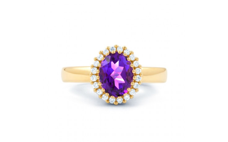 Amethyst & Diamond Halo Gold Ring product image 1