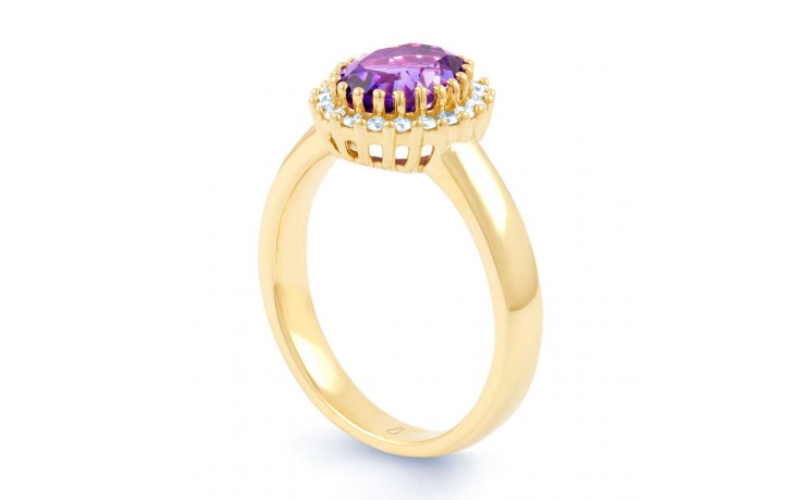 Amethyst & Diamond Halo Gold Ring product image 2
