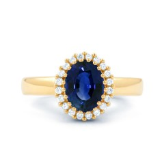 18ct Yellow Gold Blue Sapphire & Diamond Halo Engagement Ring 0.16ct 2.5mm image 1