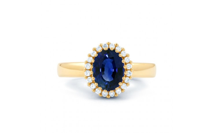 Blue Sapphire Halo Gold Ring product image 1