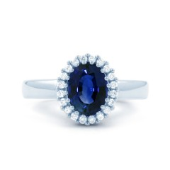 18ct White Gold Blue Sapphire & Diamond Halo Engagement Ring 0.16ct 2.5mm image 0