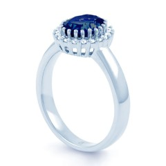 18ct White Gold Blue Sapphire & Diamond Halo Engagement Ring 0.16ct 2.5mm image 1