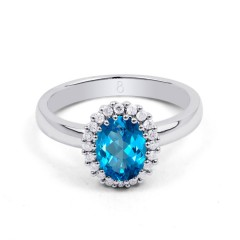 18ct White Gold Blue Topaz & Diamond Halo Engagement Ring 0.16ct 2.5mm image 0