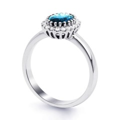 18ct White Gold Blue Topaz & Diamond Halo Engagement Ring 0.16ct 2.5mm image 1