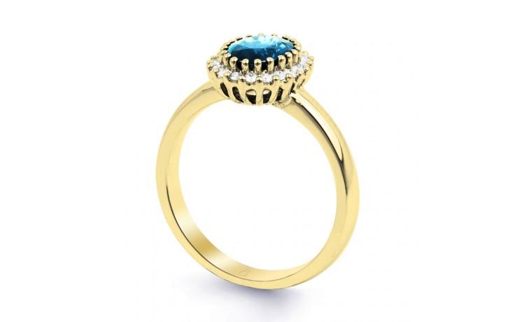 Blue Topaz Halo & Diamond Gold Ring product image 2