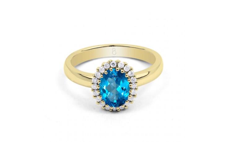 Blue Topaz Halo & Diamond Gold Ring product image 1
