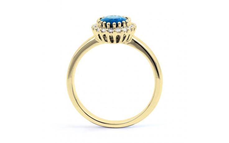 Blue Topaz Halo & Diamond Gold Ring product image 3