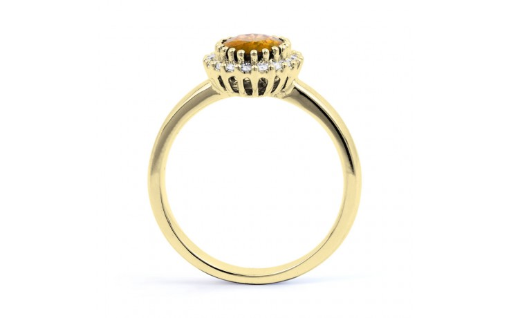 Citrine & Diamond Halo Gold Ring product image 3