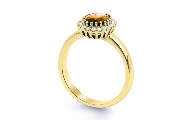 Citrine & Diamond Halo Gold Ring product image 2