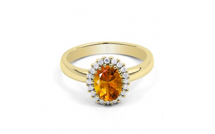 Citrine & Diamond Halo Gold Ring product image 1