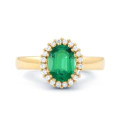 18ct Yellow Gold Emerald & Diamond Halo Engagement Ring 0.16ct 2.5mm image 0