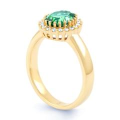 18ct Yellow Gold Emerald & Diamond Halo Engagement Ring 0.16ct 2.5mm image 1