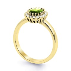 18ct Yellow Gold Peridot & Diamond Halo Engagement Ring 0.16ct 2.5mm image 1