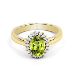 18ct Yellow Gold Peridot & Diamond Halo Engagement Ring 0.16ct 2.5mm image 0