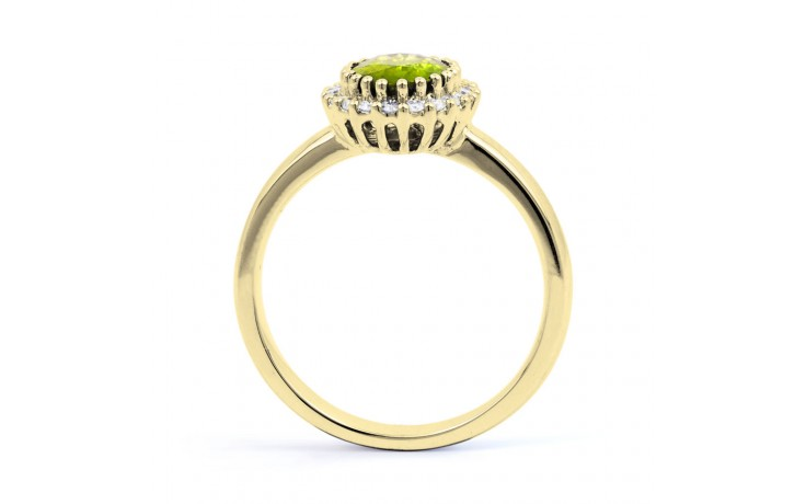 Peridot & Diamond Halo Gold Ring product image 3