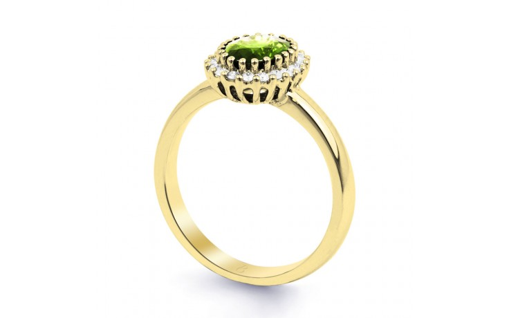 Peridot & Diamond Halo Gold Ring product image 2