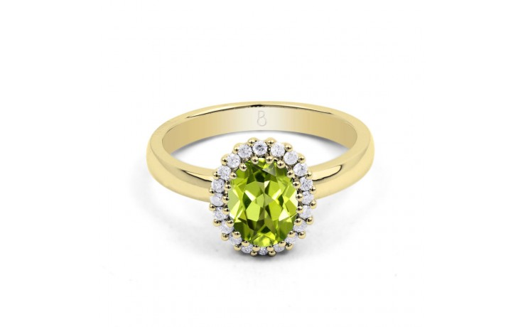 Peridot & Diamond Halo Gold Ring product image 1