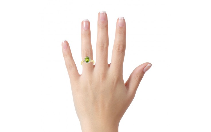 Peridot & Diamond Halo Gold Ring product image 4
