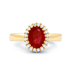 18ct Yellow Gold Ruby & Diamond Halo Engagement Ring 0.16ct 2.5mm image 0