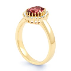 18ct Yellow Gold Ruby & Diamond Halo Engagement Ring 0.16ct 2.5mm image 1