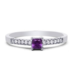 18ct White Gold Amethyst & Diamond Engagement Ring 0.12ct 1.5mm image 0