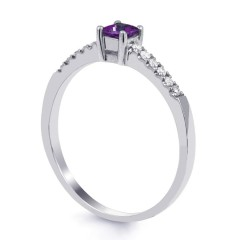 18ct White Gold Amethyst & Diamond Engagement Ring 0.12ct 1.5mm image 1