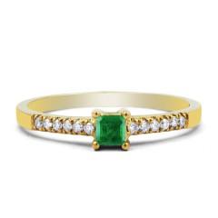 18ct Yellow Gold Emerald & Diamond Engagement Ring 0.12ct 1.5mm image 0
