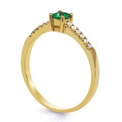 18ct Yellow Gold Emerald & Diamond Engagement Ring 0.12ct 1.5mm image 1