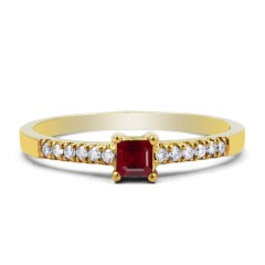 18ct Yellow Gold Ruby & Diamond Engagement Ring Princess 0.12ct 1.5mm image 0