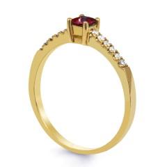 18ct Yellow Gold Ruby & Diamond Engagement Ring Princess 0.12ct 1.5mm image 1