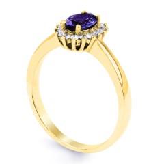 18ct Yellow Gold Tanzanite & Diamond Halo Engagement Ring 0.16ct 2mm image 1