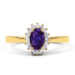 18ct Yellow Gold Tanzanite & Diamond Halo Engagement Ring 0.16ct 2mm image 0