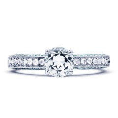 Vintage 18ct White Gold Topaz Engagement Ring image 0