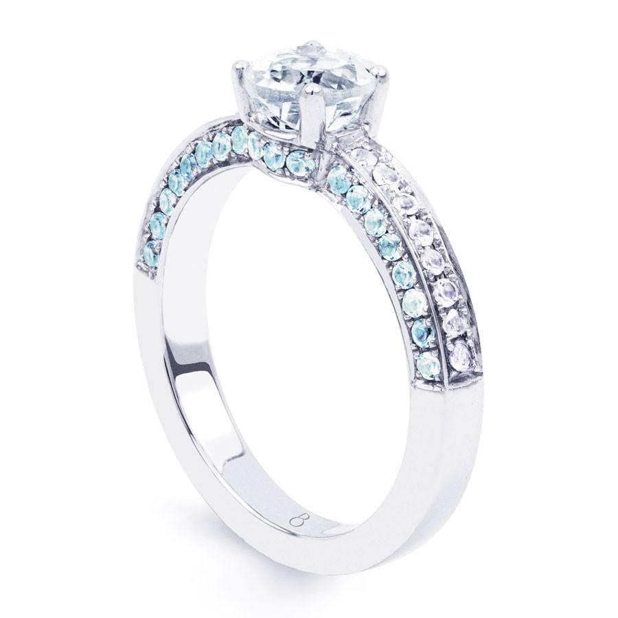 vintage 18ct white gold topaz engagement ring diamond. Black Bedroom Furniture Sets. Home Design Ideas