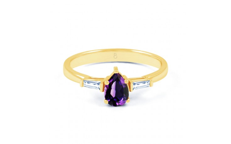 Amethyst Diamond Pear Gold Ring product image 1