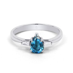 18ct White Gold Blue Topaz & Diamond Pear Engagement Ring 0.12ct 2.5mm image 0