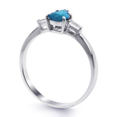 18ct White Gold Blue Topaz & Diamond Pear Engagement Ring 0.12ct 2.5mm image 1