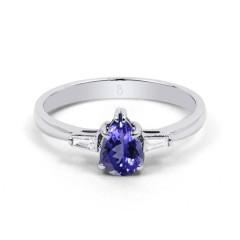 18ct White Gold Tanzanite & Diamond Pear Engagement Ring 0.12ct 2.5mm image 0