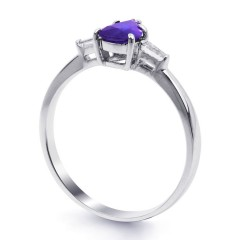 18ct White Gold Tanzanite & Diamond Pear Engagement Ring 0.12ct 2.5mm image 1
