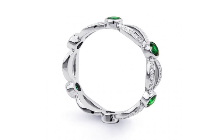 18ct White Gold Emerald & Diamond Designer Full Eternity Band 0.3ct 6mm product image 2