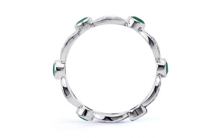 18ct White Gold Emerald & Diamond Designer Full Eternity Band 0.3ct 6mm product image 3